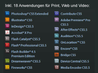 Inhalt der Adobe Creative Suite Master Collection